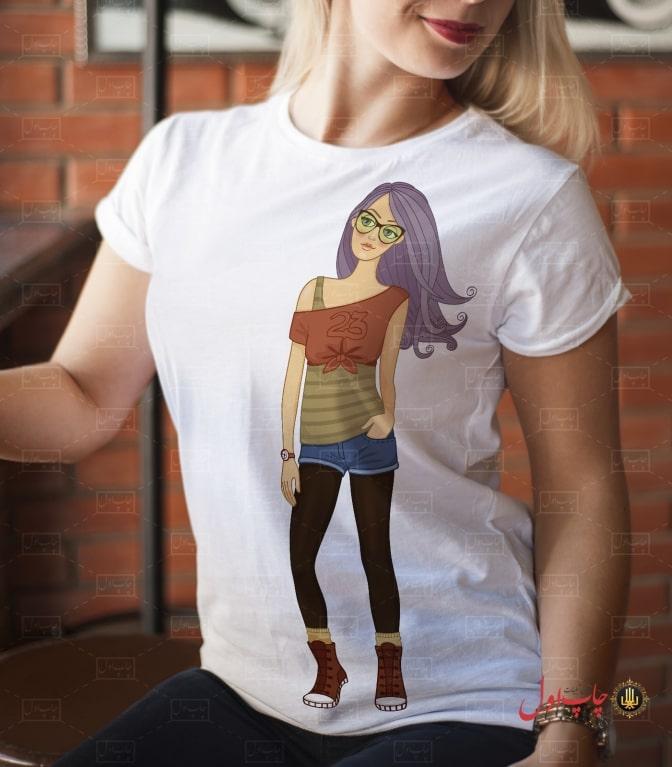 تی شرت طرح دختر فشن دو چاپ اول